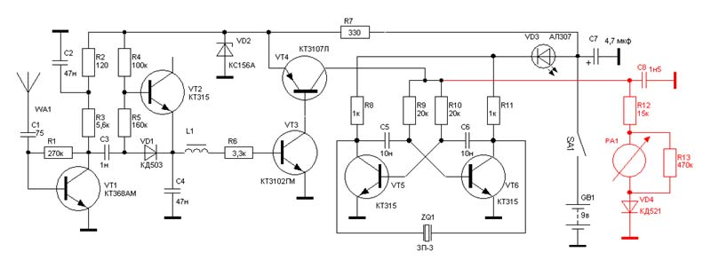 схема простого детектор жучков