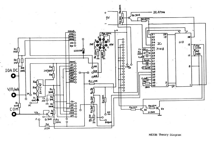 Схема мультиметра M830B